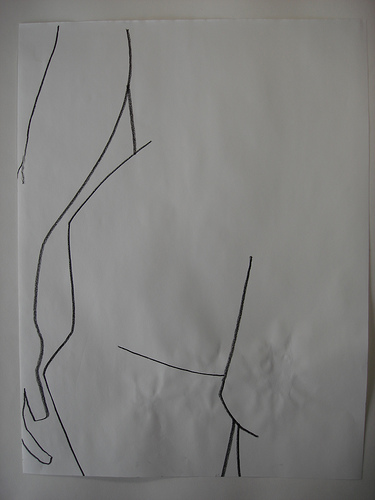 contour drawing of arm and hip