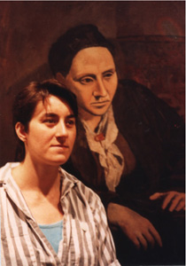 Sara Kirschenbaum on the left, Gertrude Stein by Picasso on the right