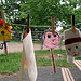 Children's puppets hanging on a clothesline
